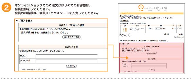 オンラインショップでのご注文が初めてのお客様は、会員登録をしてください。会員のお客様は、会員IDとパスワードを入力してください。